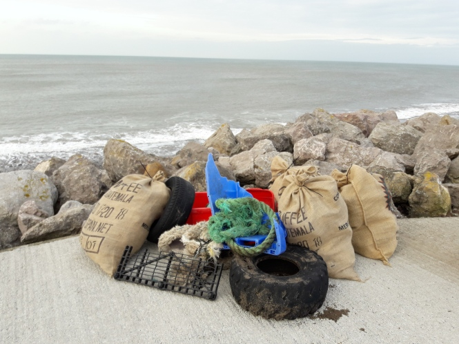 Beach litter collected from Whitehaven North Shore