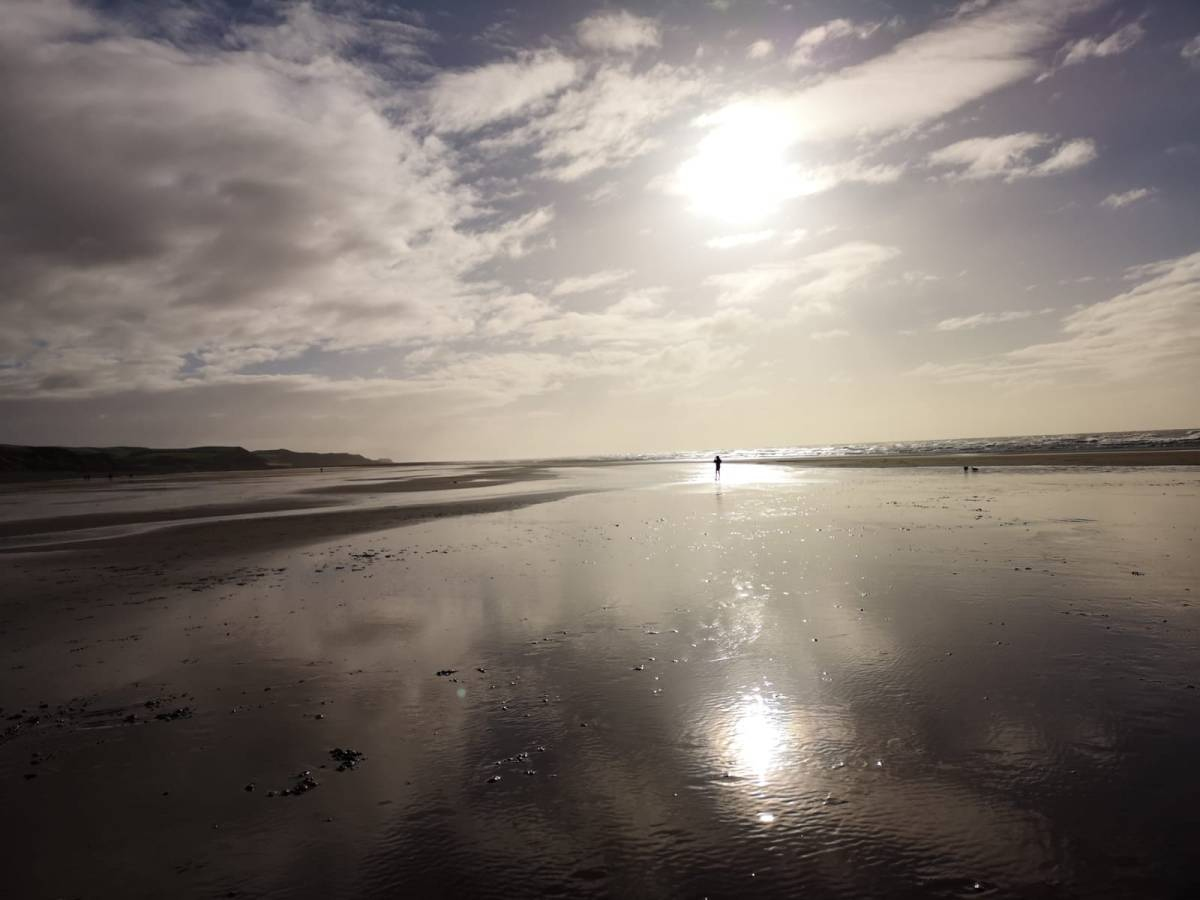 Winter sun over St Bees beach