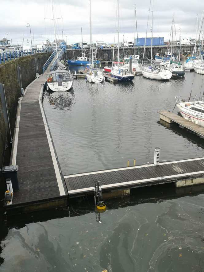 The Whitehaven Seabin in situ in Whitehaven marina